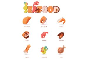 Vector seafood icon set