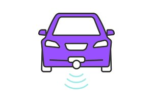 Smart car in front view color icon