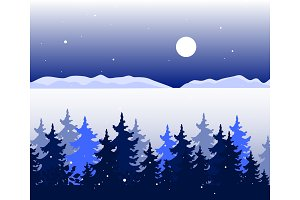 Winter panoramic landscape with