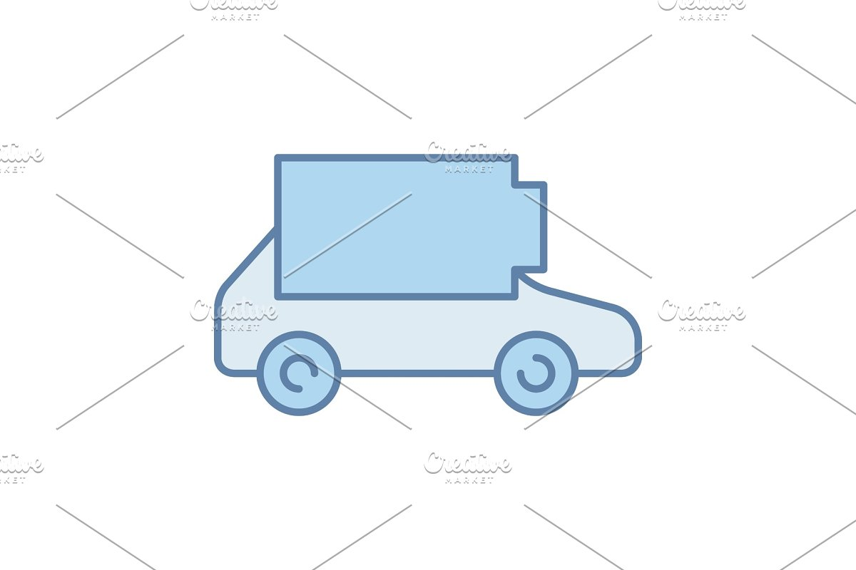 Discharged electric car color icon