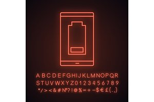 Smartphone low battery neon icon