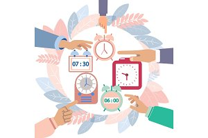 Hands turn off alarms vector
