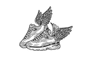 Sneakers with wings engraving vector