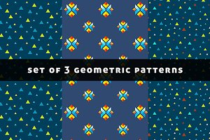Set of 3 geometric colorful patterns