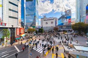 Crowd of people crossing on Shibuya