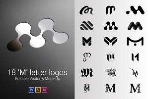 18 M Letter Logos - Vector & Mock-Up