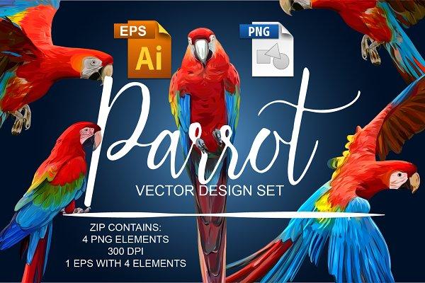 Parrot Vector Design Set