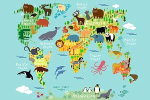 Animal map of the world for children