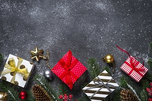 Christmas background - red, Gold and