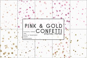 Pink & Gold Confetti Digital Paper