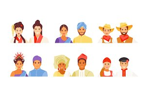 Set of nationalities avatars vector