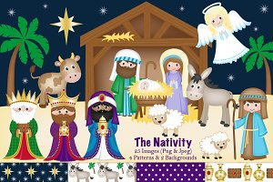 Christmas Nativity Clipart & Paper