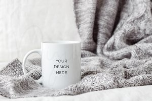 Mug Mockup with Gray Blanket
