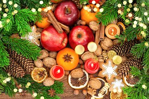 Christmas tree fruits cookies golden