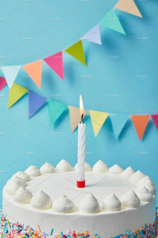 Candle On Tasty Birthday Cake Blu
