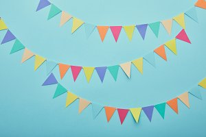 Top view of festive colorful bunting