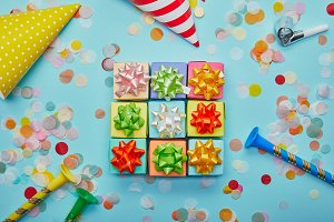 Top view of different colorful gifts