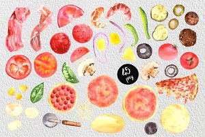 Watercolor Pizza Clip Art Set