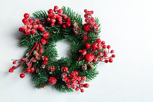 Christmas decorative wreath of holly