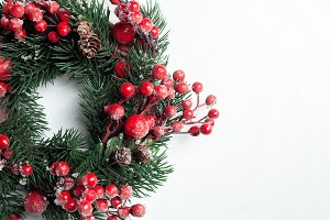 Christmas decorative wreath of holly