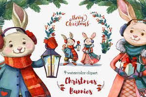 Christmas Cute Bunnies clipart