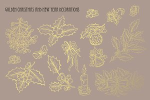 Golden Christmas Decorations Set