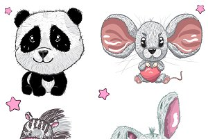 Set of cute animals.Panda, mouse.