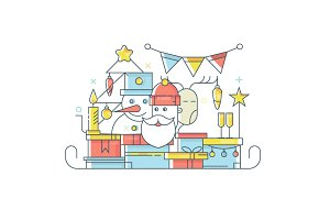 Christmas tree, Santa Claus, Deer