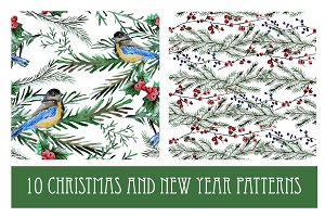 10 Watercolor Christmas Patterns