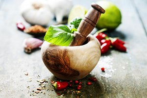 Wooden Mortar and Pestle and chilli