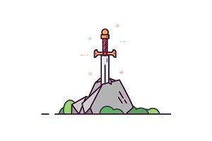 Legendary sword in the stone