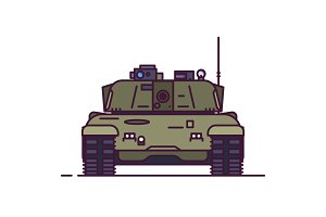 Front view of main battle tank
