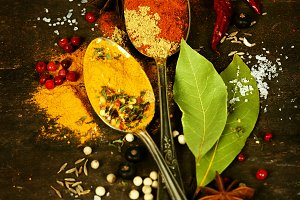 spices on a wooden board