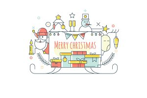 cute Christmas tree, Santa Claus