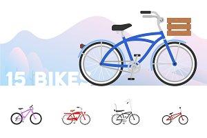 15 Flat Bike Icons