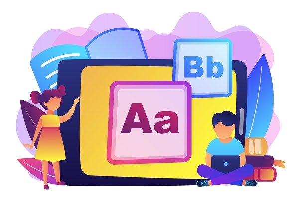 Kids digital content concept vector