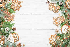 Christmas frame of rustic ornaments