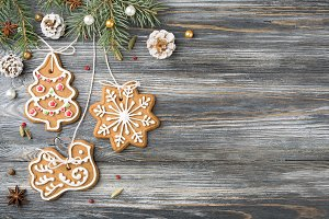 Christmas Gingerbread cookie on gray