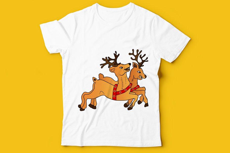 T Shirt Christmas Deer Design Art