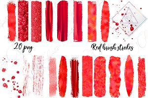 Red Brush Strokes Clipart
