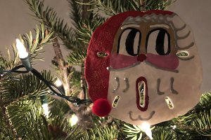 Surprised Santa Christmas Ornament