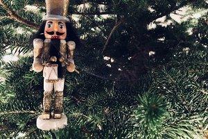 Gold Nutcracker Christmas Ornament