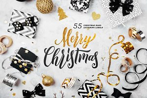 55 Christmas Lettering Labels