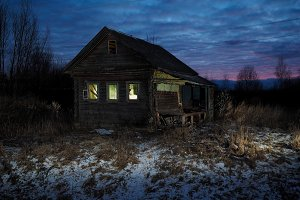 Mystical abandoned house. Night