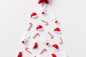 Christmas tree shape with ornaments