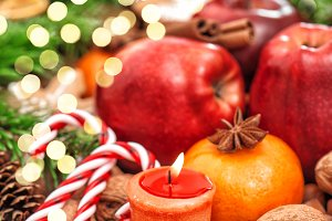 Christmas backdround Fruits spices a