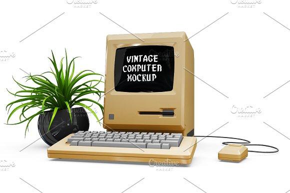 Vintage Computer Mockup in Mobile & Web Mockups - product preview 3