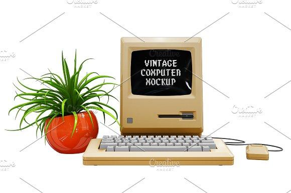 Vintage Computer Mockup in Mobile & Web Mockups - product preview 4