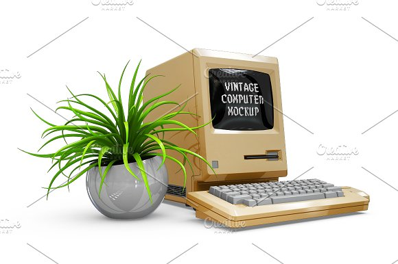 Vintage Computer Mockup in Mobile & Web Mockups - product preview 7