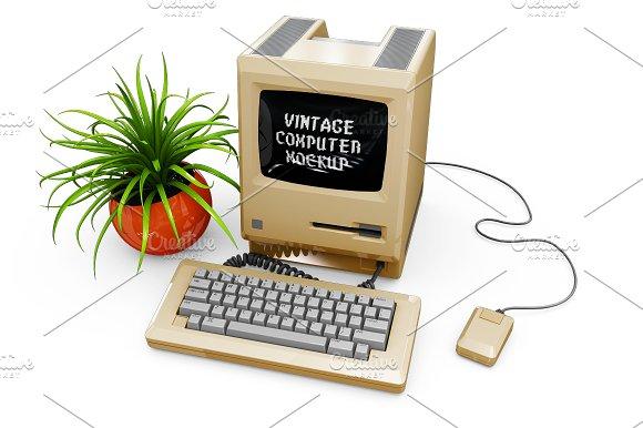 Vintage Computer Mockup in Mobile & Web Mockups - product preview 13